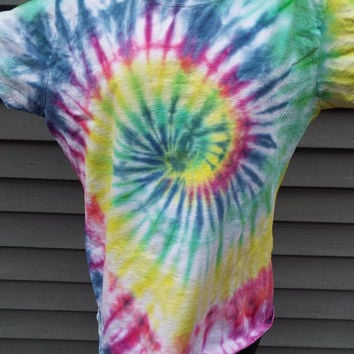 Rainbow Tie Dye Shirt, Ladies XL Tie Dye, Ladies Cut TShirt, Hippie Women, Boho Shirt, Ladies Tshirt, XL TieDye Tee, Hand-dyed, Colorful