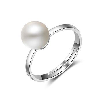 women s 925 silver simple single imitation pearl inlaid rings  number 1