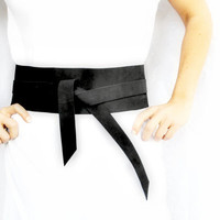 Womens Accessory Leather Obi Belt Japanese Style Genuine Leather - Matte Black Suede
