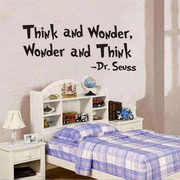 "Vinyl Quote Wall Sticker / Decal - Free Shipping - ""Think and wonder, wonder and think"" - Dr. Seuss"
