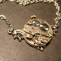 Steampunk Vintage Watch Movement Necklace on Floral Ornate Setting  with exposed Gears(672)