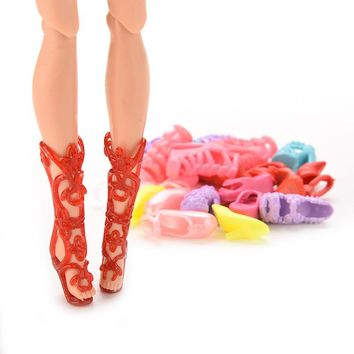 """12 Pairs Girls Gift Dolls Accessories Color Random Lovely Dolls Shoes Heels Sandals For Barbie 11"""""""