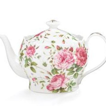 Saddlebrooke Pink Rose Porcelain Tea Collection Teapots and Service Sets