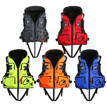 1Pcs Adult Life Jacket Adjustable Safety Life Jacket Survival Vest Swimming Boating Fishing Ski Drifting Vest L-2XL Sizes Jacket