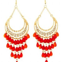 Beaded Crescent Chandelier Earrings by Charlotte Russe - Red