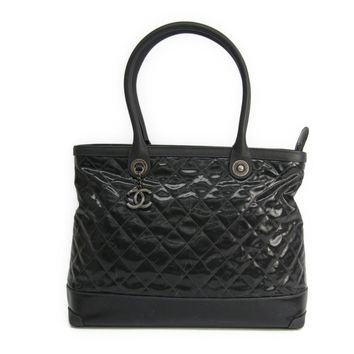 Chanel Women's Coated Canvas Leather Tote Bag Black BF313332