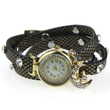 "ON SALE - ""Look To The Moon And Stars"" Sparkly Wrap Bracelet Watch in Black"
