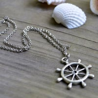 Ship's Wheel Necklace - Nautical - Antique Silver Chain