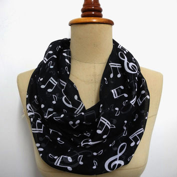 SALE Music Infinity Scarf Cat Pattern Scarf Chiffon scarf gift Cat Pattern shawl gift
