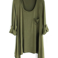 *Free Shipping* Women Cotton Army Green Loose Top HT10000agr