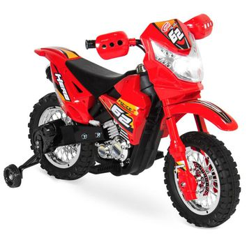 Kids Electric Ride-On Motorcycle Toy w/ Training Wheels, Lights, Music, BCP 6V