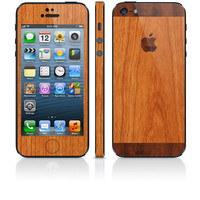 iCarbons TwoTone Light / Dark IPhone 5 Wood Grain Skin FULL COMBO