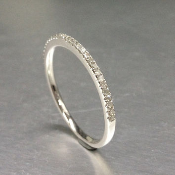 Thin design,Diamond Wedding Ring,Solid 14K White gold,Anniversary Ring,Half Eternity Band,stackable ring,milgrain,Matching band,Micro pave