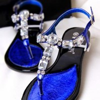 Big Rhinestone T Shape Flat Sandals for Women ERW844
