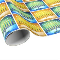Trendy yellow blue Hanukkah menorahs pattern photo Wrapping Paper