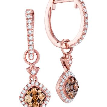 14kt Rose Gold Womens Round Cognac-brown Colored Diamond Hoop Square Dangle Earrings 1/2 Cttw
