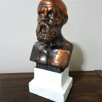 Vintage Bust Vintage Statue Socrates Ancient Greek Philosopher Metal Statue Metal Sculpture Bust Copper Bookshelf Decor Paperweight Plato