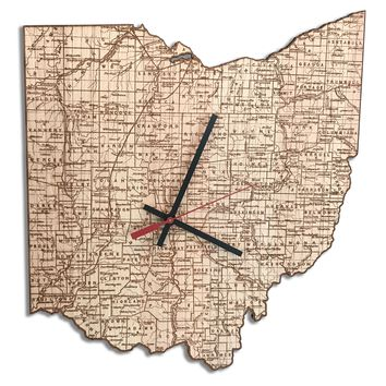 Ohio Clock - Guide map of Ohio 1873
