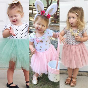 Toddler Baby Kids Girl Dress Lace Mesh Patchwork Summer Mini Dress Short Sleeve Casual Tutu Dresses 1-6Y