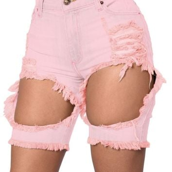 Echoine XXL Plus Size Short Jeans 3 Colors Women Big Holes Distresses Cutoff Denim Shorts Sexy Wash Ripped Jean Femme
