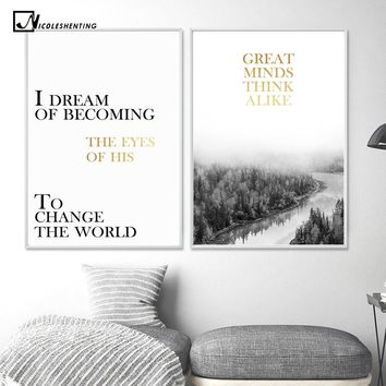 Nordic Style Forest Landscape Poster Canvas Print Motivational Poster Quote Minimalist Wall Art Painting Picture for Living Room