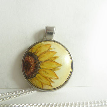 Sunflower Necklace, Half of Yellow Sunflower Blossom, Original Miniature Painting Necklace Bezel, Chain, Mixed Media
