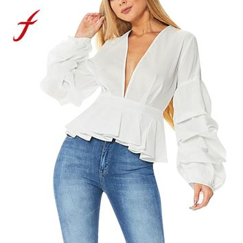 Feitong Elegant Women's Sexy Blouses Office Lady Sexy Deep-V-Neck Puff Sleeve White Crop Tops Shirt Blouse Blusas feminina 2017