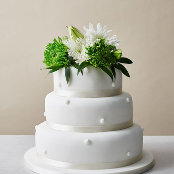 Romantic Pearl Sponge Wedding Cake (White Icing) | M&S