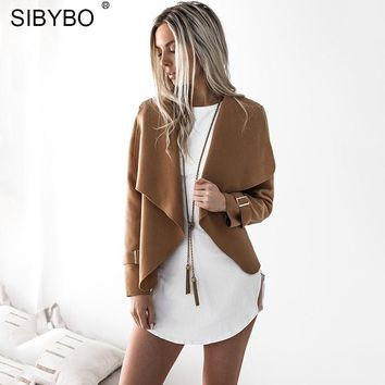Sibybo Turn-down Collar Cardigan Women Jacket Fashion Long Sleeve Open Stitch Autumn Jacket Women Casual Jackets Coats Womens