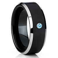 Black Tungsten Band - Aquamarine Tungsten Wedding Band - Black Tungsten Ring