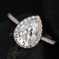 Pear Shape Diamond  Engagement Ring H-SI1 3.67ct EGL certified 18kt Rose Gold Blueriver47 Etsy Fine Jewelry Anniversary Bridal Birthday