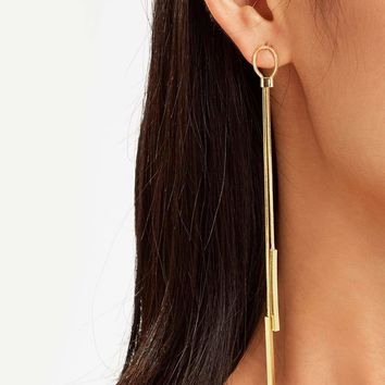 Bar Detail Threader Drop Earrings 1pair