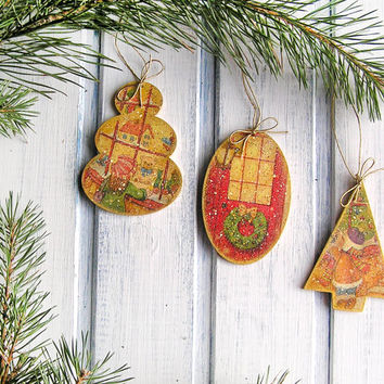 "Vintage Christmas Ornaments "" Toy Store"" / Christmas Decoration / Decoupage Tree Decorations/ Christmas Gift /  Christmas Toy"