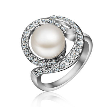 Freshwater Pearl White Gold Plated Ring