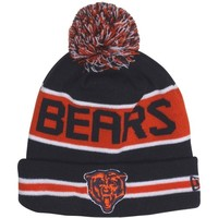 New Era Chicago Bears The Coach Cuffed Knit Beanie with Pom - Navy Blue/Orange