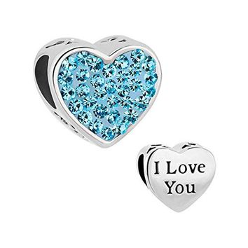 LuckyJewelry Heart I Love You Charms Swarovski element Birthstone Crystal Sale Cheap Beads Fit Bracelet