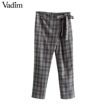 Women Vintage Plaid Bow Tie Wrap Pants Elastic Waist Ankle Length Chic Pants Ladies Autumn Casual Trousers