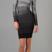 Herve Leger Long Sleeve Ombre Dress