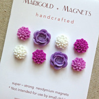 strong neodymium magnets purple flowers set of 8 by MarigoldHome