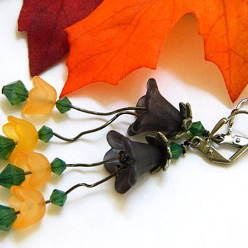 Orange Halloween Flower Earrings Handcrafted Short Dangle Green Crystal