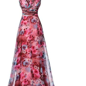 Long Prom Dress The Most Beautiful Formal Party Floral Pattern Sleeveless Special Occasion Dress