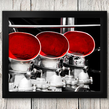 Hot rod Roadsters Engine Close-up - Classic Car Decor, Man Cave art - Manly Photographic Art Prints