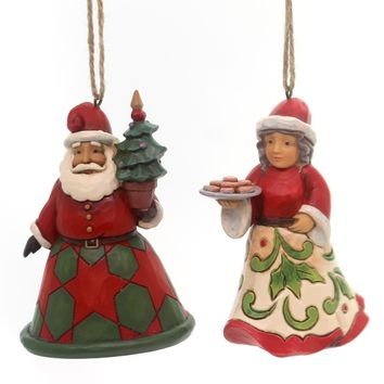 Jim Shore Santa & Mrs Claus Ornament Set Resin Ornament