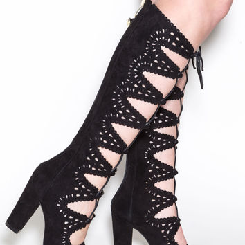 In The Realm Faux Nubuck Gladiator Heels