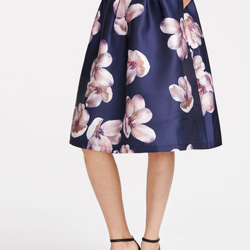 Navy Flower Print Box Pleated Volume Skirt