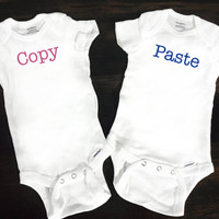 Twin Onesuits® Bodysuit, Baby Girl and Boy Funny Onesuits® Bodysuit, Body Suit, Baby Onesuits® Bodysuit
