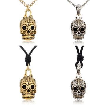 Mexican Skull Cross Jesus Sterling Silver Pewter Brass Necklace Pendant Jewelry