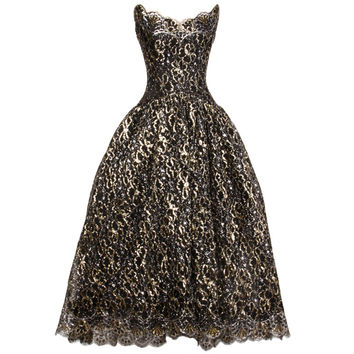 Scaasi 80s Vintage Metallic Black Lace Strapless Dress