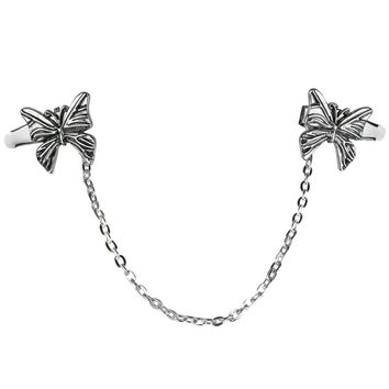 Evelots Silvertone Butterfly Sweater or Shawl Clip, Jewelry