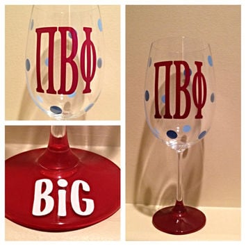 Pi Beta Phi, Personalized Wine Glass, Sorority Wine Glass, Custom Wine Glass, Big WIne Glass, Little Wine Glass